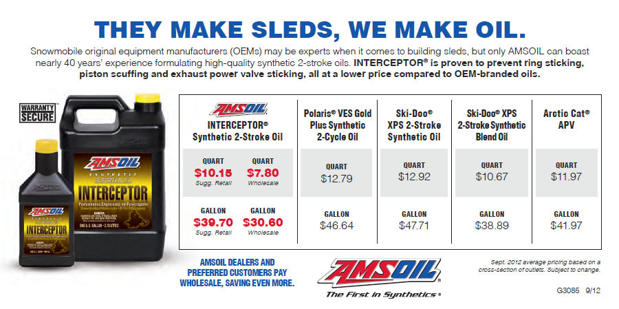 Price comparison of Amsoil Interceptor to Snowmobile OEM